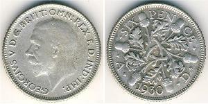 6 Пенни / 1 Шестипенсовик Великобритания (1922-) Серебро Георг V (1865-1936)