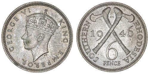 6 Пені Південна Родезія (1923-1980) Срібло Георг VI (1895-1952)