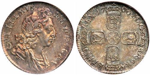 6 Пені / 1 Шестипенсовик Королівство Англія (927-1649,1660-1707) Срібло Вільгельм III (1650-1702)