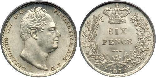 6 Пені / 1 Шестипенсовик Сполучене королівство Великобританії та Ірландії (1801-1922) Срібло Вільгельм IV (1765-1837)