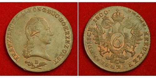 6 Kreuzer Sacro Romano Impero (962-1806) Rame Francis II, Holy Roman Emperor (1768 - 1835)