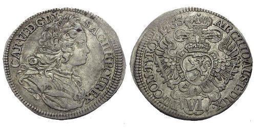 6 Kreuzer Bohemia Silver Charles VI, Holy Roman Emperor (1685-1740)