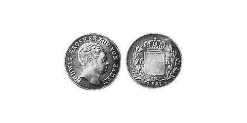 6 Kreuzer Grand Duchy of Baden (1806-1918) Silver Louis I, Grand Duke of Baden (1763 - 1830)