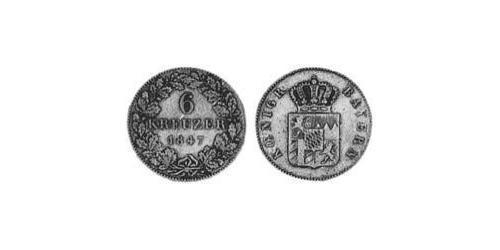 6 Kreuzer Kingdom of Bavaria (1806 - 1918) Silver Ludwig I of Bavaria (1786 – 1868)