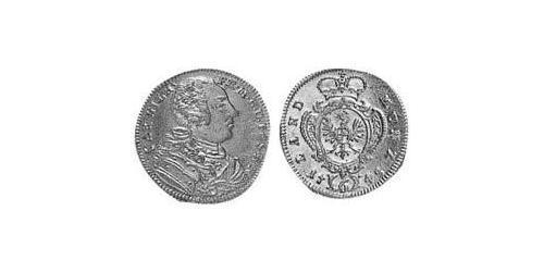 6 Kreuzer Principality of Ansbach (1398–1792) Silver Charles William Frederick, Margrave of Brandenburg-Ansbach (1712 – 1757)