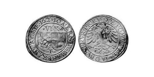 6 Kreuzer Principality of Ansbach (1398–1792) Silver Joachim Ernst, Margrave of Brandenburg-Ansbach (1583 – 1625)