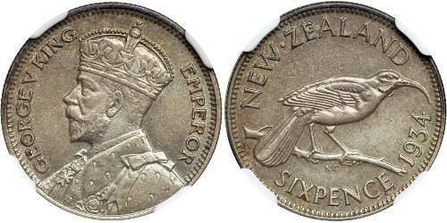 6 Penny Nuova Zelanda Argento Giorgio V (1865-1936)