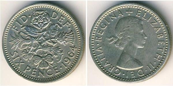 6 Penny United Kingdom (1922-) Copper-Nickel Elizabeth II (1926-)
