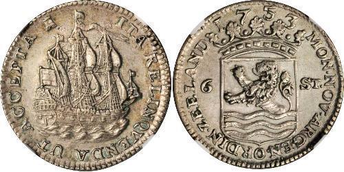 6 Stuiver Niederlande Silber