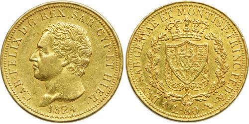 80 Lira Italian city-states Oro Carlo Felice di Savoia