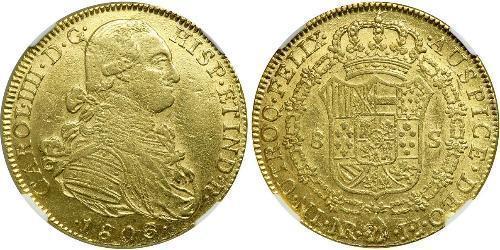 8 Ескудо Нова Ґранада (1717 - 1819) Золото Карл IV король Іспанії  (1748-1819)