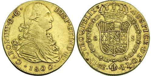 8 Ескудо Перу Золото Карл IV король Іспанії  (1748-1819)