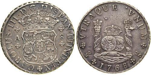 8 Реал Испанская империя (1700 - 1808) Серебро Карл III король Испании (1716 -1788)