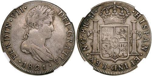 8 Реал Іспанські Колонії / Гватемала Срібло Фердинанд VII король Іспанії (1784-1833)