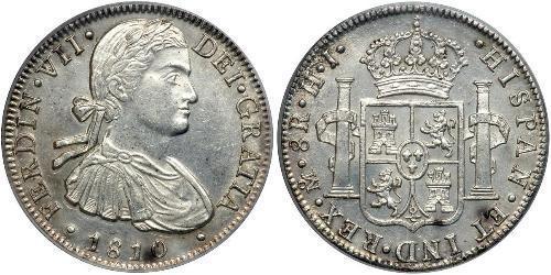 8 Реал Нова Іспанія (1519 - 1821) Срібло Фердинанд VII король Іспанії (1784-1833)