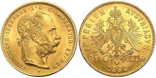 8 Флорин / 20 Франк Австро-Венгрия (1867-1918) Золото Франц Иосиф I (1830 - 1916)