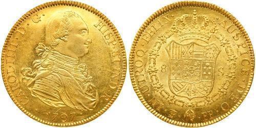 8 Эскудо Боливия Золото Карл IV король Испании (1748-1819)