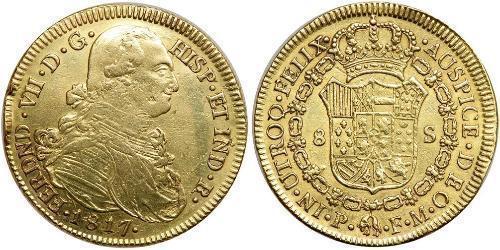 8 Эскудо Новая Гранада (1717 - 1819) Золото Фердинанд VII король Испании (1784-1833)