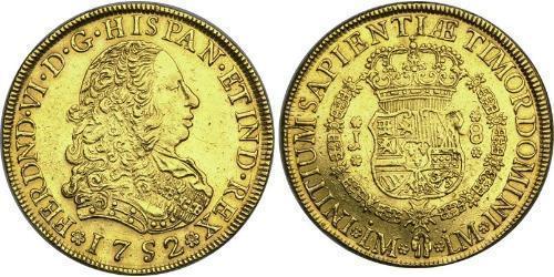 8 Эскудо Перу Золото Фердинанд VI  король Испании (1713-1759)