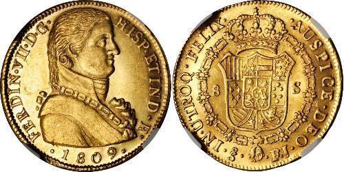 8 Эскудо Чили Золото Фердинанд VII король Испании (1784-1833)