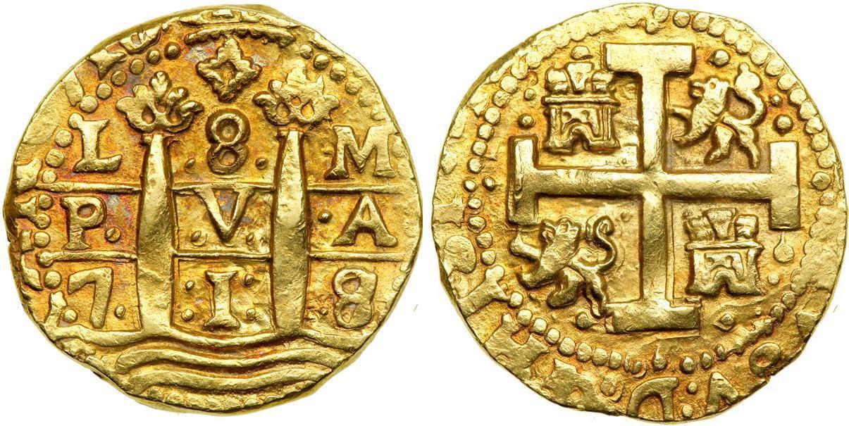 Escudo 1712 peru gold philip v of spain 1683 1746 prices amp values