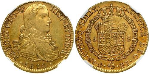 8 Escudo Spanish Mexico  / Kingdom of New Spain (1519 - 1821) Gold Ferdinand VII of Spain (1784-1833)