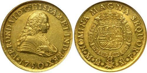 8 Escudo Spanish Mexico  / Kingdom of New Spain (1519 - 1821) Gold Ferdinand VI of Spain (1713-1759)