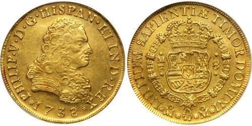 8 Escudo Spanish Mexico  / Kingdom of New Spain (1519 - 1821) Gold Philip V of Spain(1683-1746)