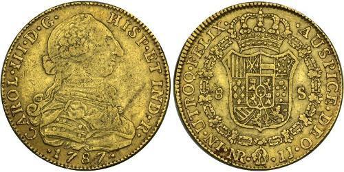 8 Escudo Viceroyalty of New Granada (1717 - 1819) Gold Charles III of Spain (1716 -1788)