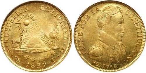 8 Escudo Bolivie (1825 - ) Or Simon Bolivar (1783 - 1830)