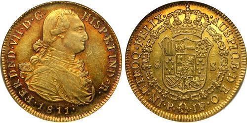 8 Escudo Vice-royauté de Nouvelle-Grenade (1717 - 1819) Or Ferdinand VII d