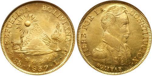 8 Escudo Bolivia (1825 - ) Oro Simon Bolivar (1783 - 1830)