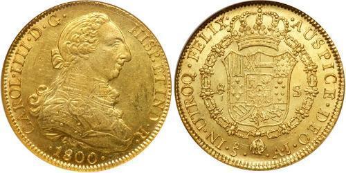 8 Escudo Cile Oro Carlo IV di Spagna (1748-1819)