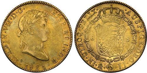 8 Escudo Primer Imperio Mexicano (1821 - 1823) Oro Fernando VII de España (1784-1833)