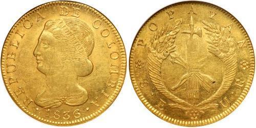 8 Escudo Repubblica della Nuova Granada (1831–1858) Oro