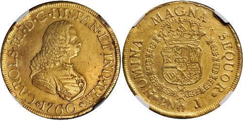 8 Escudo Vicereame della Nuova Granada (1717 - 1819) Oro Carlo III di Spagna (1716 -1788)