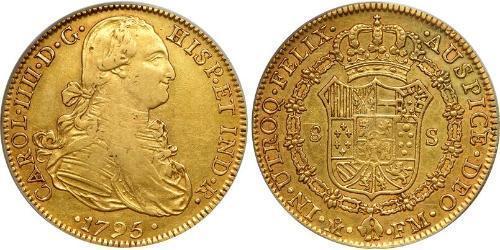 8 Escudo Virreinato de Nueva España (1519 - 1821) Oro Carlos IV de España (1748-1819)