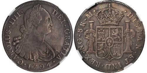 8 Real Guatemala Argento Carlo IV di Spagna (1748-1819)