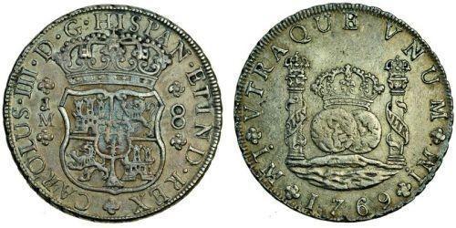 8 Real Perù Argento Carlo III di Spagna (1716 -1788)