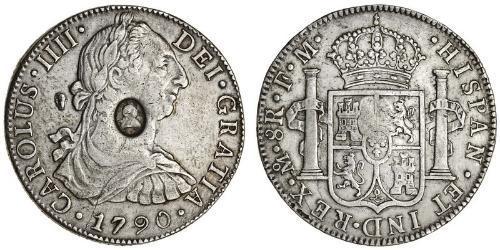 8 Real / 1 Dollaro Regno Unito di Gran Bretagna e Irlanda (1801-1922) / Vicereame della Nuova Spagna (1519 - 1821) Argento Carlo IV di Spagna (1748-1819) / Giorgio III (1738-1820)