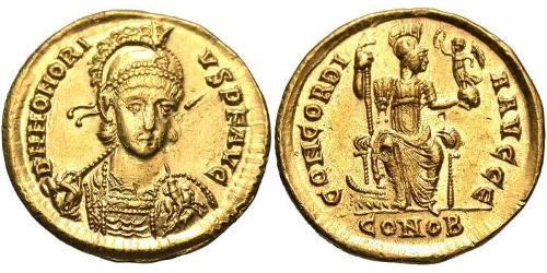 Solidus Western Roman Empire (285-476) Gold Honorius  (384-423)