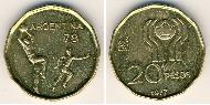 20 Peso Argentina (1816 - ) Aluminium-Bronzo