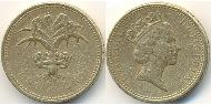1 Pound United Kingdom (1922-) Brass-Nickel Elizabeth II (1926-)