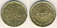 10 Peso Argentina (1861 - ) Aluminium-Bronzo