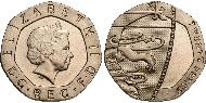 20 Penny United Kingdom (1922-) Copper-Nickel Elizabeth II (1926-)
