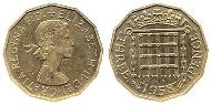 3 Threepence United Kingdom (1922-) Brass-Nickel Elizabeth II (1926-)