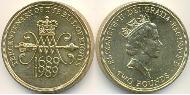 2 Pound United Kingdom (1922-) Copper-Nickel Elizabeth II (1926-)