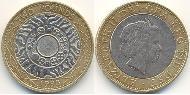 2 Pound United Kingdom (1922-) Bimetal Elizabeth II (1926-)
