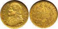 10 Lira Kingdom of Italy (1861-1946) Gold Pius IX (1792- 1878)