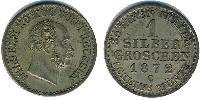 1 Grosh Kingdom of Prussia (1701-1918) Silver Wilhelm I, German Emperor (1797-1888)